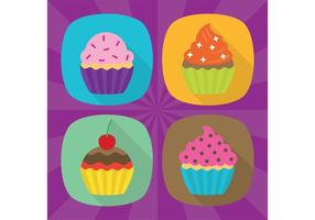 Icônes vectorielles plat Cupcake