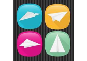 Boutons vectoriels d'avion à papier vecteur