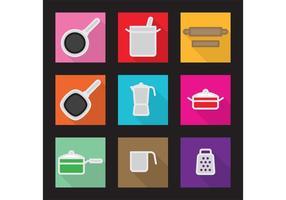 Icônes vectorielles plat cuisine vecteur