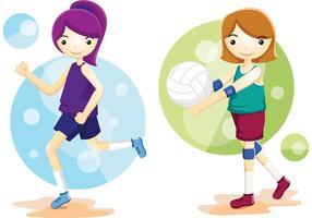 Vecteurs athlètes de volleyball vecteur