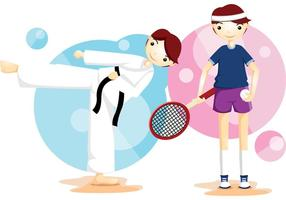 Karaté et tennis Sport Vector Boys