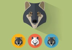 Portraits de vecteurs de loup