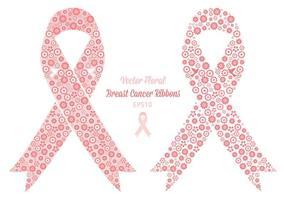 Rubans de cancer du sein floral à vecteur gratuit