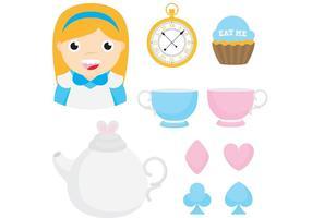 Alice in wonderland vector items