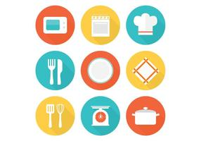 Icônes gratuites de cuisine plat vecteur