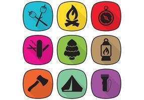 Objets de camping plat vecteur