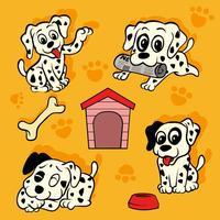 Pack Dalmatian Puppy Vector