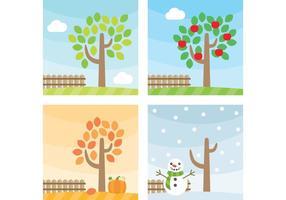 Vecteurs d'arbres saisonniers vecteur