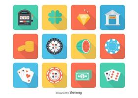 Icônes gratuites de casino plat vecteur
