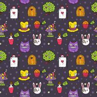 Vecteur libre Alice in Wonderland seamless pattern