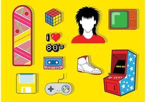 Pack vecteur icône des années 80