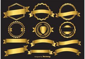 Éléments d'insigne d'or vecteur