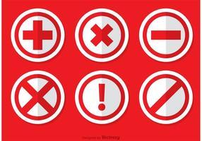 Pack de vecteurs d'icônes annulés rouges