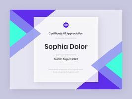 modèle de certificat violet tendance