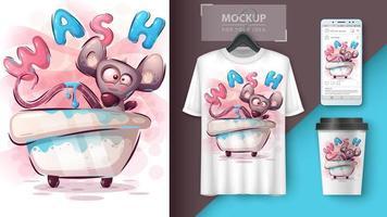 affiche de lavage de souris de dessin animé