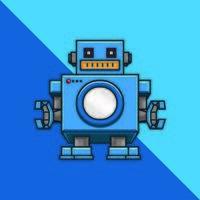 robot sur fond bleu
