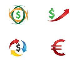 ensembles de logo argent et monnaie vecteur