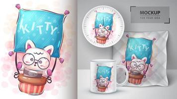 kitty de dessin animé en affiche de montgolfière vecteur