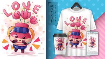 affiche d'amour de pot de fleur de dessin animé