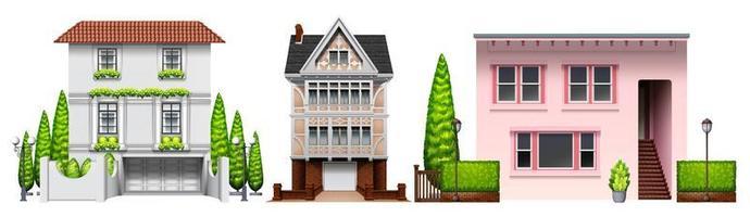 ensemble de conception de trois bâtiments vecteur