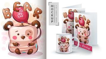 affiche et merchandising ours en montgolfière vecteur