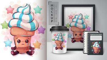 affiche de crème glacée de dessin animé triste vecteur
