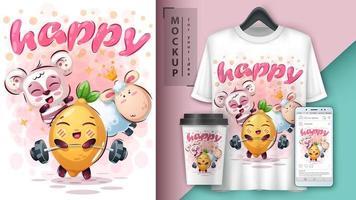 animaux de dessin animé heureux et affiche de citron