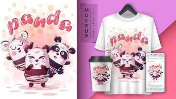 affiche d'amis de panda de dessin animé