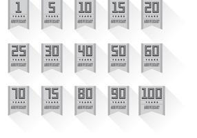 Vecteurs de bannière de badge anniversaire vecteur
