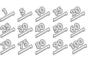 Vecteurs d'étiquettes d'anniversaire en argent vecteur