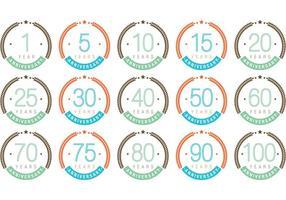 Vecteurs colorés d'insignes d'anniversaire vecteur
