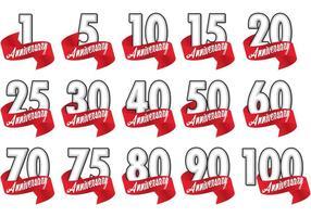 Vecteurs d'insignes d'anniversaire de ruban rouge