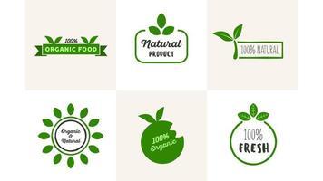 ensemble de logo d'aliments naturels biologiques frais vecteur