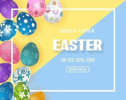 affiche de vente de Pâques avec des oeufs colorés vecteur