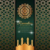 bannière de ramadan ornane vert vecteur