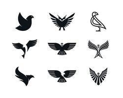 aigle colombe phoenix et hibou icônes vecteur