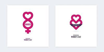 Icônes du 8 mars avec des formes de coeur