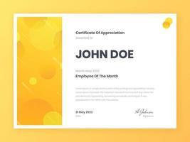 certificat d'employé du mois tendance