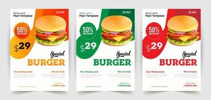 modèles de conception de flyer burger de restauration rapide vecteur