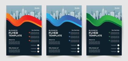 modèle de flyer d'entreprise avec des formes ondulées