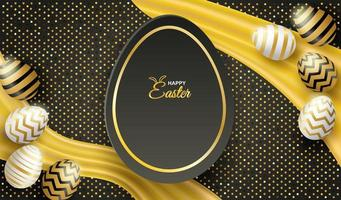 affiche de Pâques avec fond de paillettes et oeufs