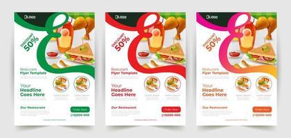 ensemble de flyers de réduction de restaurant vecteur
