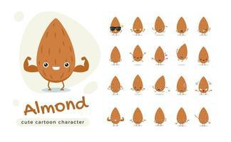 adorable jeu de caractères aux amandes brunes vecteur