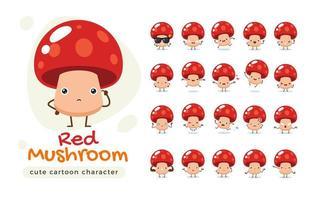 jeu de caractères mascotte champignon rouge vecteur
