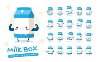jeu de caractères mascotte boîte à lait vecteur