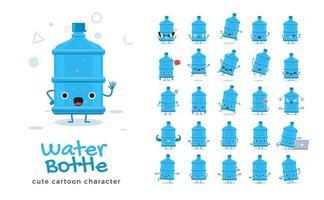 jeu de caractères mascotte bouteille d'eau vecteur