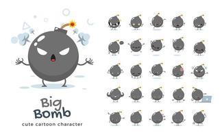 jeu de caractères mascotte grosse bombe. illustration vectorielle. vecteur
