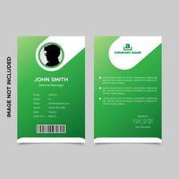 modèles de carte d'identité d'employé vert dégradé