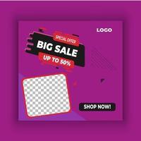 modèle de publication de médias sociaux carrés violet vente
