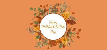 bannière de joyeux thanksgiving day avec cadre cercle blanc